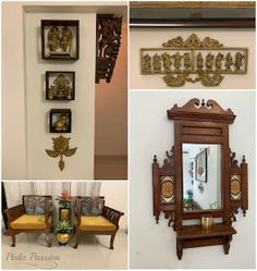 Pinkz Passion : Sticking With The Classics (Home Tour of Nikeeta Deshpande) Ethnic Home Decor, Indian Home Decor, Indian Decoration, Colonial Furniture, Home Decor Furniture, Indian Furniture, Wall Collage Picture Frames, Indian Inspired Decor, Wooden Sofa Set Designs
