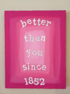 Phi Mu Pink Painted Canvas on Etsy, $20.00