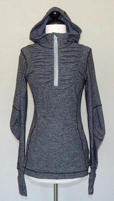 LULULEMON Heathered Black Pullover Hoodie Jacket Fitness Top Stretch Ruched - 6 #Lululemon #ShirtsTops