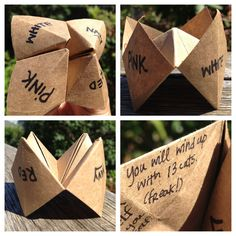 Cootie Catcher, Fortune Teller, Chatterbox, Salt Cellar, or Whirlybird. $1.00, via Etsy.