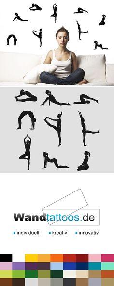 Wandtattoo Yoga Set als Idee zur individuellen Wandgestaltung. Einfach Lieblingsfarbe und Größe auswählen. Weitere kreative Anregungen von Wandtattoos.de hier entdecken!