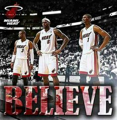 Miami Heat - Big 3 - Dwayne Wade LeBron James and Chris Bosh Miami Heat Basketball, Love And Basketball, Basketball Players, We Are The Champions, Nba Champions, Heat Team, Chris Bosh, Husband Best Friend, Basketball Pictures