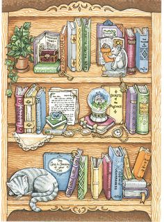 Card with a drawing of books and a cat on bookshelves. Sent to a Postcrosser in Germany. Story Drawing, Book Drawing, Tea And Books, I Love Books, Scooby Doo, Harry Potter Tattoos, Bullet Journal Ideas Pages, Doodle Art, Cat Art