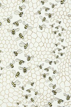 Bee Colony Wallpaper - for powder room? Of Wallpaper, Pattern Wallpaper, Iphone Wallpaper, Bathroom Wallpaper, Surface Pattern, Pattern Art, Pattern Design, Textures Patterns, Fabric Patterns
