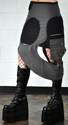 Neophyte Skirt, cyber goth boots. Industrial by FuturisticNews.com