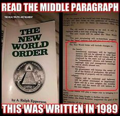 "QUESTION? This was published over 25 years ago and the only item on this list that the ""NWO"" has ""implemented"" is the very first one? The list kinda looks like it was created by someone who wanted to scare right-wing, hard-care Christians by attacking their core belief system."