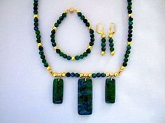 Green and Blue Stone Beaded Necklace Earrings and by JewelrybyIshi, $49.50