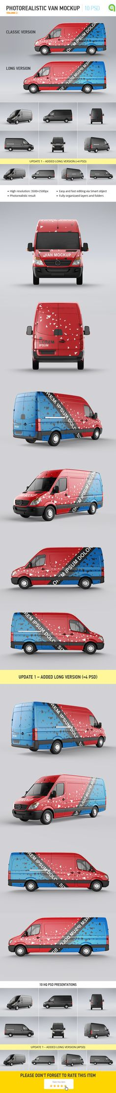 Buy Van Mock-Up by Ayashi on GraphicRiver. Van Mock-Up features: 6 HQ PSD presentations; Easy and fast editing via Smart-Objects; Fully organizaed layers and f. Web Design, Tool Design, Graphic Design, Mock Up, Up Auto, Vehicle Signage, Mockup Photoshop, Food Truck Design, Van Wrap