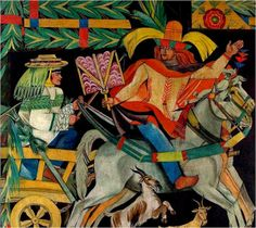 A part of the decoration of the Polish pavilion at the Exposition Internationale des Arts Decoratifs et Industriels Modernes in Paris in 1925, a series of six paintings for the twelve months, showing rural village life and seasonal change.