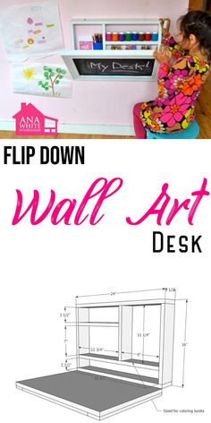 This do it yourself kids desk folds up to become a wall chalkboard! Stores art supplies and even a paper roll holder! Super easy step by step instructions to DIY your own! #anawhite #anawhiteplans #diy #diydesk #wallartdesk #kidsdesk #kidsroom Diy Furniture Plans, Diy Furniture Projects, Diy Craft Projects, Woodworking Projects, Woodworking Plans, Colorful Playroom, Kid Playroom, Diy Office Desk, Office Ideas