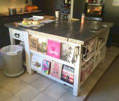 Kitchen island i made to hide freezwbox inside