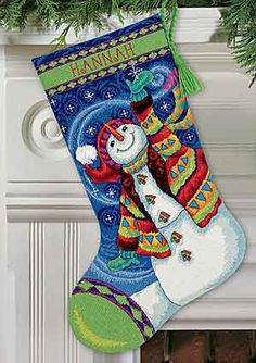 Happy Snowman Christmas Stocking Needlepoint Kit from Dimensions