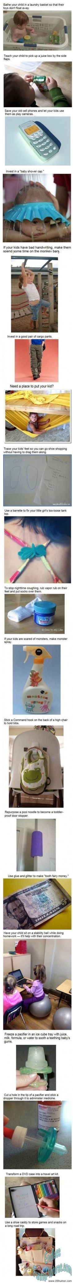 some of these things seem real useful. i dont know about hanging my kid underneath a table though lol