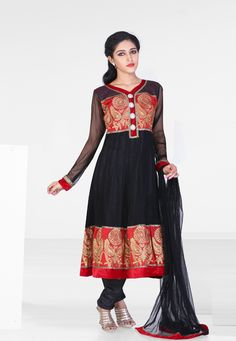 Black embroidered festival anarkali kameez intricate with zari thread, resham thread, beads, neck work, stripes work, floral work, leaf work, keri work, patch work and patch patti border work