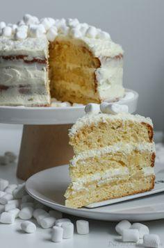White-Chocolate-Kokos-Cake White Dinner, Winter Torte, White Chocolate, Vanilla Cake, Desserts, Food, Pies, Cake Wedding, Cake Ideas