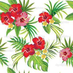Hibiscus and palm leaves floral tropical pattern — Stock Vector ...