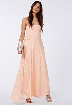 Skyla Lace Bandeau Maxi Dress Nude - Dresses - Maxi Dresses - Missguided