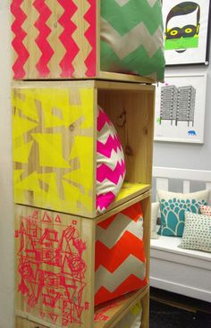 Cool hand screen printed cubes by Curio & Curio