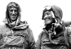Sir Edmund Hillary (1919-2008) of New Zealand & Tenzing Norgay of Nepal/India, first to reach the summit of Mt Everest in May 1953.