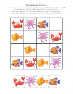 Free printable Ocean Animals Sudoku Puzzles for children. Great for an ocean unit or some summertime learning. Body Preschool, Preschool Learning Activities, Preschool Worksheets, Preschool Activities, Teaching Kids, Activities For Kids, Teaching Spanish, Tier Puzzle, Sudoku Puzzles