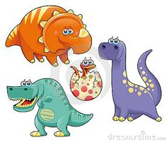 Grupo de dinosaurios divertidos. Historieta y caracteres aislados.