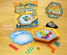 Buzz in for a quick game of HexHive. Bee-lieve it, you'll love it. If you can add numbers to a total of seven, you're old enough to play. It's a honey of a brainteaser. HexHive A brainteaser worth buzzing about! Strengthens visual-spatial skills, concentration, math skills, logic Place tiles to total seven, place all tiles to win Progressive difficulty in challenge level Fun for a wide range of ages  Durable case for game play and storage Fun for travel