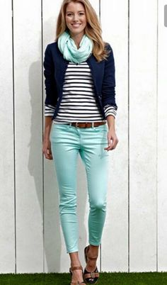 Loving the mint jeans!