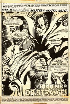 gene colan art | Gene Colan - Doctor Strange #14, p. 1 (Marvel, 1976) Comic Art