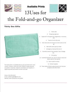 13 uses for the Thirty One fold and go organizer  www.mythirtyone.com/307721