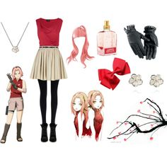 """casual cosplay - sakura haruno"" by casual-cosplay on Polyvore. Don't like the character, but the outfit's pretty cute."