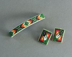 Green Beaded Barrette and Earrings Set by HighDesertDryGoods