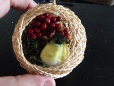 Bird in Nest ornament stiffened twine ball with by LabArcDesigns.  This handmade bird in nest ornament would be lovely on a tree! Cute feathery bird rests inside a twine nest. Other elements include a tiny pine cone and berries.   Festive holiday ornament, or could be used to compliment country decor year round. $5.00