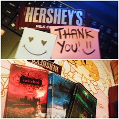 even he's far far away *seafare*... he brought me novel books to read even i'm not really into reading books & my favorite chocolate. :)