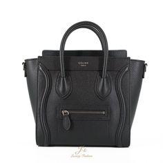 62b04ab46099 CELINE NANO LUGGAGE SHOULDER BAG IN BLACK GRAINED CALFSKIN