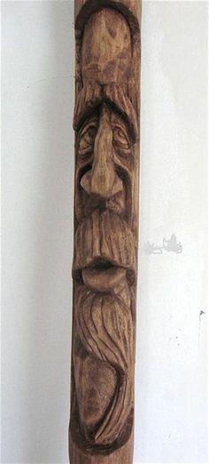 The Apprehensive Soul (hand carved wood spirit walking stick) Walking Stick Art Tree Carving, Wood Carving Art, Wood Art, Cane Stick, Stick Art, Walking Sticks And Canes, Walking Canes, Hand Carved Walking Sticks, Whittling Wood