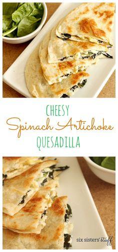 Cheesy Spinach Artichoke Quesadillas   Six Sisters' Stuff
