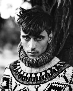 Clément Chabernaud by Mark Kean for Varón Magazine. Graphic yoke fair isle pattern.