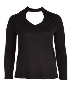 Blu Pepper Black Mock Neck Keyhole Top - Plus | zulily