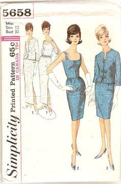 1960s Cocktail Dress Evening Dress & Jacket by CherryCorners, $14.00