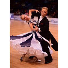 lovely black and white ballroom dance dress #dancesport Aimie Leak and Sean Smullen