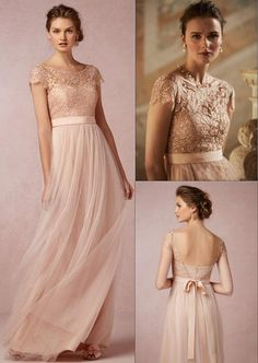 Tidetells 2015 Vintage Blush Lace Long Evening Dresses With Illusion Bateau Neck Capped Sleeves Low Back A-Line Floor-length Formal Bridesmaid Gowns