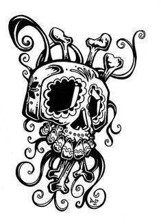 Day of the Dead Art by David Lozeau -- Sugar Skull Swirl Tattoo Design, via… Vanitas, Swirl Tattoo, Sugar Skull Tattoos, Sugar Skulls, Shetland, Sugar Skull Design, Tatoo Designs, Day Of The Dead Art, Airbrush Art