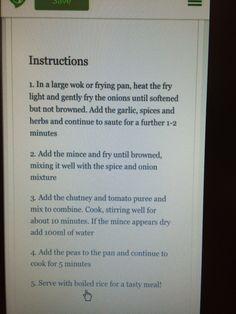 Keema Curry instructions