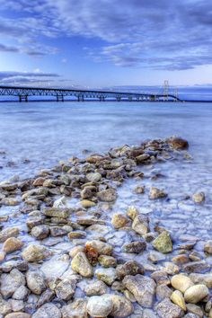 Mackinac Bridge From The Beach Photograph by Twenty Two North Photography