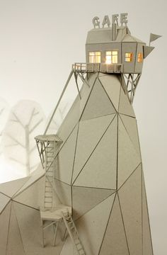 Artists Uses Cardboard To Create Whimsical Scenes, Fun Stop-Motion Animation… Cardboard Design, Cardboard Crafts, Cardboard Sculpture, Sculpture Art, Paper Sculptures, Architecture Origami, Maquette Architecture, Architecture Models, Karton Design