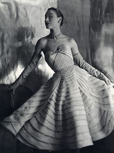 Model wearing a gown by Jean Desses, 1952. Photo by Philippe Pottier.