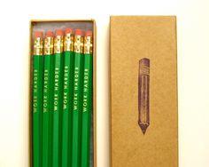 PENCILS (6) green - work harder hex pencils w/ kraft pencil box. $10.00, via Etsy.