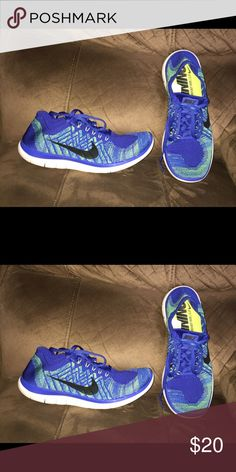 Men's Size 9.5 Nike Running Shoes Blue and yellow men's Size 9.5 Nike Running shoes. In very good condition. Receive and discount for bundling items.....so please check out my closet! All reasonable offers are considered. Nike Shoes Athletic Shoes