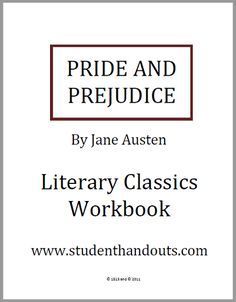 Pride and Prejudice Literary Classics Workbook - Free to print (PDF file). This novel workbook features the complete unabridged text along with questions and activities. Classroom Activities, Learning Activities, Summer Reading Lists, English Classroom, Pride And Prejudice, Homeschool Curriculum, Teaching Tips, Student Work, Jane Austen