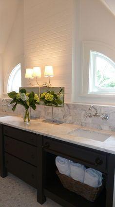 Dream bathroom sink Needs mirror somewhere but this is great Springlake cottage addition, Atlanta. Bathroom Renos, Laundry In Bathroom, Master Bathroom, Attic Bathroom, Bathroom Windows, Wood Bathroom, Bathroom Ideas, Dream Bathrooms, Beautiful Bathrooms